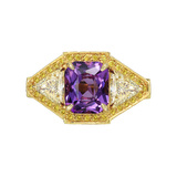 Amethyst & Yellow Diamond Dress Ring