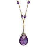 Antique Russian Amethyst Drop Long Necklace
