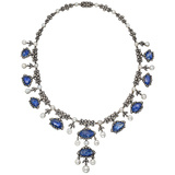 Antique Sapphire, Diamond & Pearl Fringe Necklace