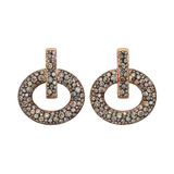 18k Pink Gold & Brown Diamond Doorknocker Earrings