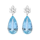 "Aquamarine Drop Earrings with 18k White Gold ""Brillante"" Tops"
