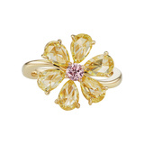 Pink & Yellow Diamond Flower Ring