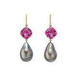 Baroque Pearl & Pink Tourmaline Drop Earrings