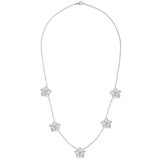 Five Diamond Flower Cluster Necklace
