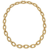 14k Yellow Gold Oval Twist Wire Link Necklace