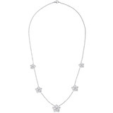 Graduated FIve Diamond Flower Cluster Necklace