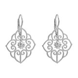 "18k White Gold & Diamond ""Arabesque"" Drop Earrings"