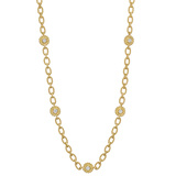 18k Yellow Gold & Diamond Link Long Necklace