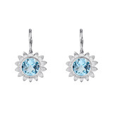 Blue Topaz Sunflower Drop Earrings