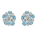 "18k White Gold & Blue Topaz ""Matisse"" Earclips"