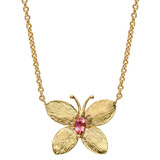 18k Gold & Pink Tourmaline Butterfly Pendant Necklace
