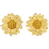 18k Yellow Gold Daisy Earrings