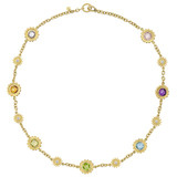 Multicolored Gemstone & Diamond Sunflower Necklace