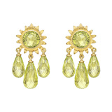 18k Yellow Gold & Peridot Sunflower Chandelier Earrings