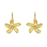 18k Gold Jasmine Flower Drop Earrings with Diamond