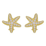 18k Gold & Diamond Starfish Earclips