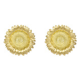Large 18k Yellow Gold Sunflower Earclips
