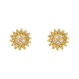 18k Gold & Diamond Sunflower Stud Earrings
