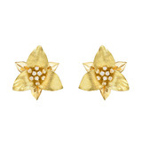 18k Gold & Diamond Trillium Flower Earclips