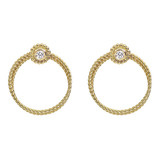 18k Yellow Gold & Diamond Twisted Wire Hoop Earclips