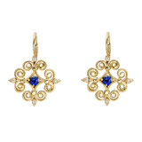 "18k Gold, Sapphire & Diamond ""Wrought Iron"" Earrings"