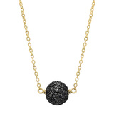 Small 18k Yellow Gold & Black Diamond Ball Pendant