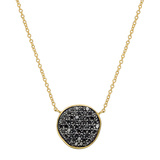 18k Yellow Gold & Black Diamond Disc Pendant