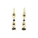 18k Gold & Black Diamond Dangle Earrings