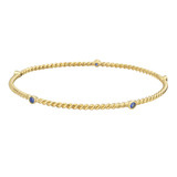 18k Yellow Gold & Sapphire Twistwire Bangle