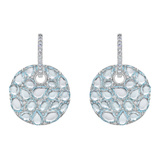Blue Topaz & Sapphire Disc-Shaped Drop Earrings