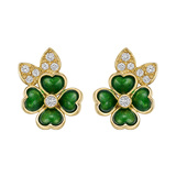 18k Yellow Gold, Enamel & Diamond Clover Earclips