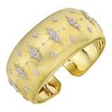 18k Gold & Diamond Star Cuff Bracelet