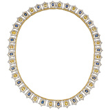 18k Gold, Sapphire & Diamond Collar Necklace
