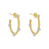 "Small 18k Gold & Diamond ""Ondine"" Hoop Earrings"