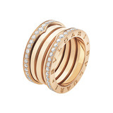 "18k Pink Gold & Diamond ""B.Zero1"" 4-Band Ring"