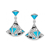 "Turquoise, Onyx & Diamond ""Divas' Dream"" Drop Earrings"