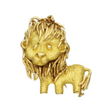 18k Yellow Gold Lion Pin