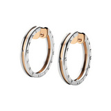 "Large 18k Pink Gold & Steel ""B.Zero1"" Hoop Earrings"