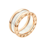 "18k Pink Gold & White Ceramic ""B.Zero1"" 2-Band Ring"