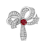 Burmese Ruby & Diamond Bow Brooch