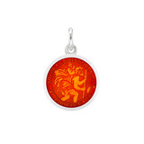 XS Silver St. Christopher Medal with Red Enamel