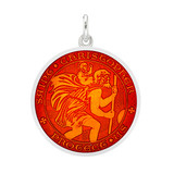 Medium Silver St. Christopher Medal with Red Enamel