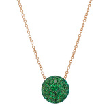 Pavé Emerald Domed Pendant Necklace
