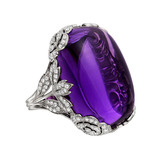Large Cabochon Amethyst & Diamond Ring