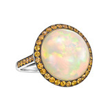 Opal & Orange Sapphire Cocktail Ring
