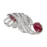 Cabochon Ruby & Diamond Scroll Pin