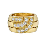 18k Yellow Gold & Diamond 3-Row Band Ring