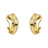 "18k Yellow Gold & Diamond ""Trinity"" Hoop Earclips"