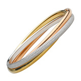 "18k Tri-Colored Gold & Diamond ""Trinity"" Bangle"
