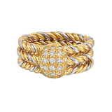 18k Tricolored Gold Rope Twist & Diamond Dome Ring